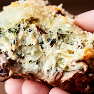 Healthier Spinach Artichoke Stuffed Mushrooms.