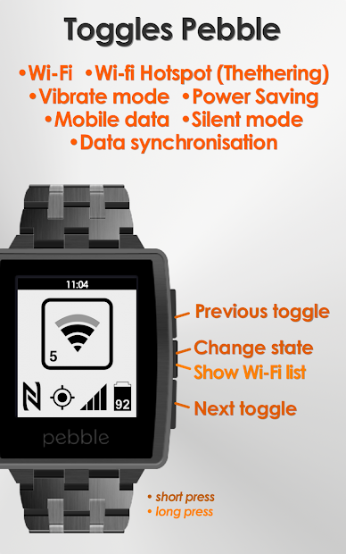 Toggles for Pebble Android App Screenshot