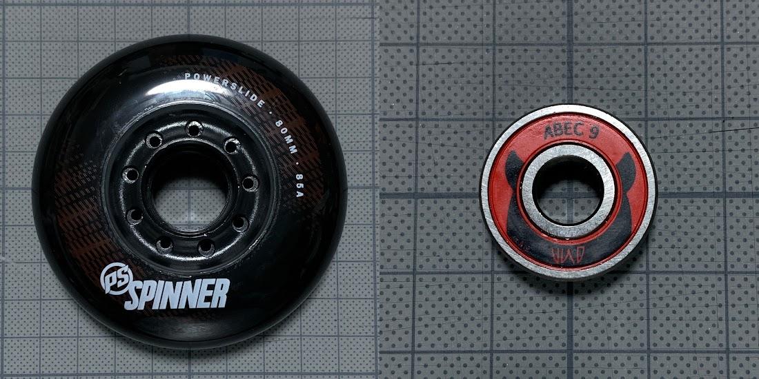 写真10 ウィール「Spinner 80mm/85A」とベアリング「Wicked ABEC 9」