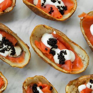 Smoked Salmon, Crème Fraîche, and Caviar Potato Skins.