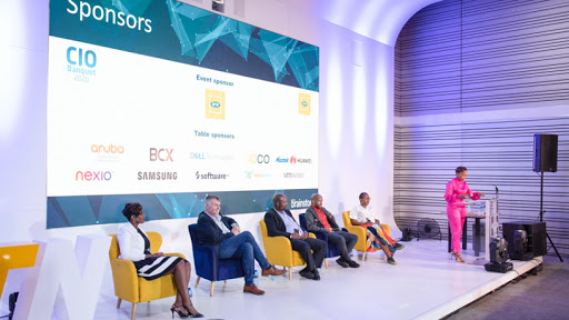 CIO Survey 2020 panel discussion, chaired by Nozipho Tshabalala.  Panelists were: Thelma Kganakga, GM: technology security, MTN; Wilhelm Krige, Group CIO, ABSA;  Mandla Ngcobo, government CIO, Department of Public Service and Administration; Tiyani Nghonyama, COO, Geekulcha; Thato Sopeng, head: branch network & partnership technology, Africa Bank.