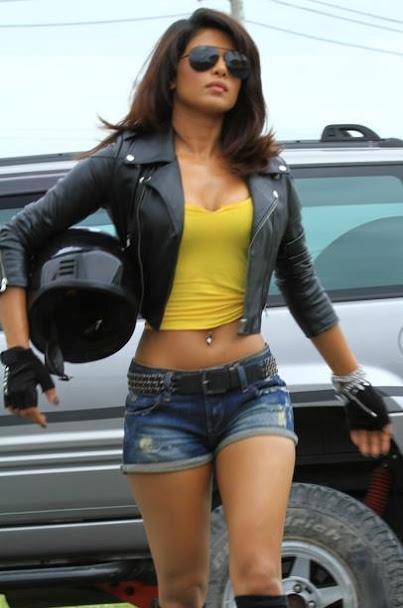Priyanka Chopra in denim shorts, Priyanka Chopra belly button, Priyanka Chopra in leather jacket