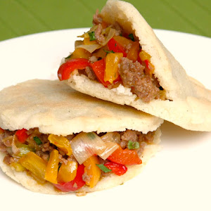 Arepas Stuffed with Minced Meat and Peppers