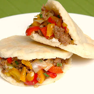 Arepas Stuffed with Minced Meat and Peppers.
