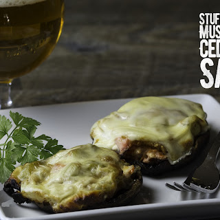 Stuffed Portobello Mushrooms With Cedar Plank Salmon