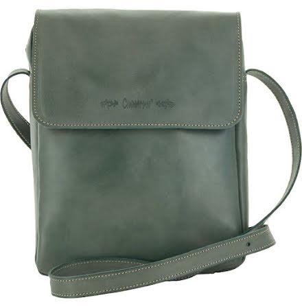 Väska med lock och axelrem petrol blixtlås och magnetlås i skinn