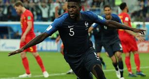 Samuel Umtiti celebrando el gol ante Bélgica.