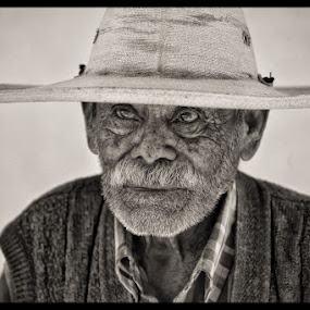 Man with Hat by Anne Marie Hickey - People Portraits of Men