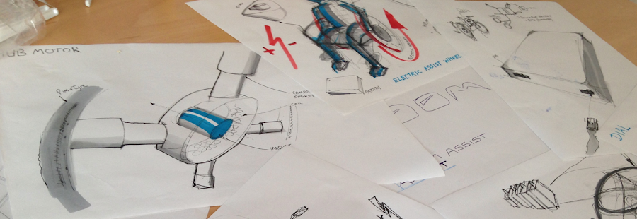 Some of Oliver's sketched designs for the sit-ski
