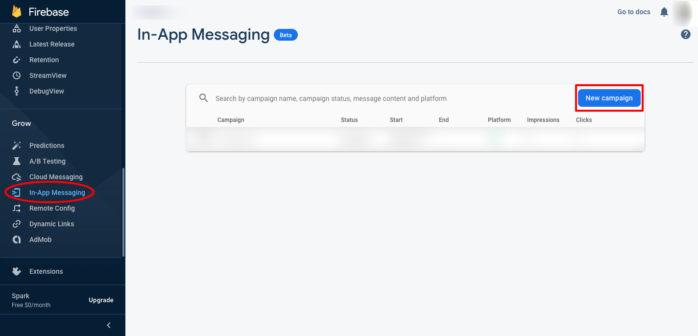 Image showing how to create a new campaign for firebase in-app messaging