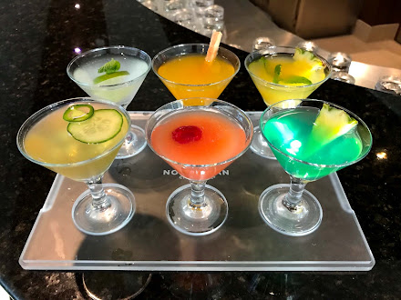 Colorful cocktails served at Sugarcane Mojito Bar on the top deck of Norwegian Jade.