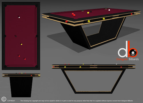 3D Drawing of a Concept External Ball Return Pool Table - Stained Black with Oak Detailing