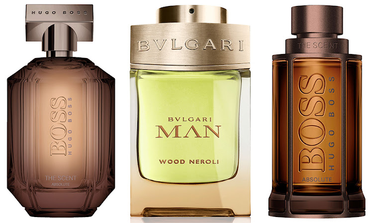 From left: Boss The Scent Absolute For Him EDP 100ml, R1,550; Bulgari Man Wood Neroli EDP, 100ml, R1,680; Boss The Scent Absolute For Her EDP 100ml, R1,980.