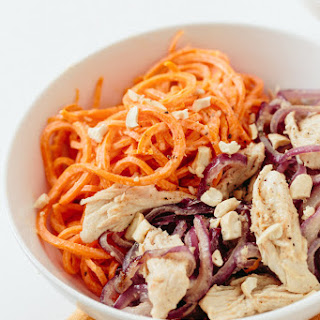Mediterranean Chicken and Carrot Noodle Bowl with Tahini