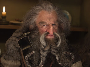 "Photo: Oin at Bag End. Note the ""hearing aid""."