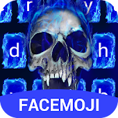 Blue Fire Skull Emoji Keyboard Theme for Instagram