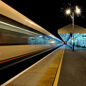 Night Train by Steve Corcoran - Transportation Other ( winchester, railway, speed, transport, station, movement, train, night, long exposure, hampshire, trains )