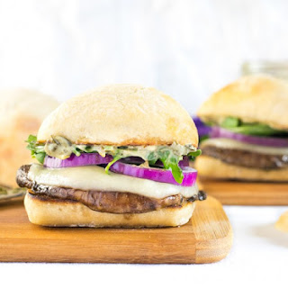 Portabella Mushroom Burger with Pesto Mayo and Arugula