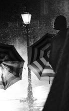 Photo: Umbrellas in the rain at the Burberry Autumn/Winter 2012 campaign shoot