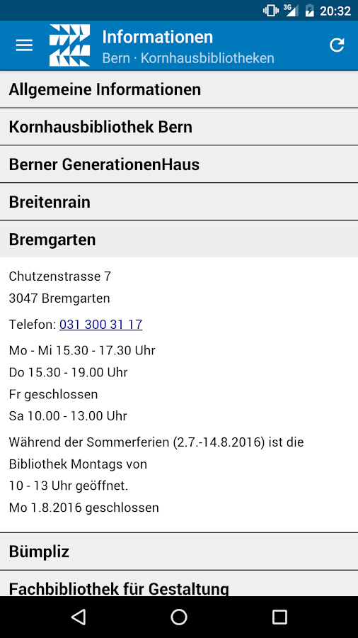 Kornhausbibliotheken Bern – Screenshot
