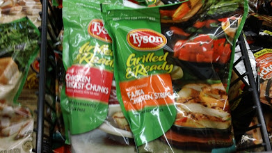 Photo: Next, I headed to the frozen chicken aisle to see what Tyson varieties were there. Wow! There were even more kinds to choose from- Fajita Chicken Strips, Chicken Breast Chunks, and Oven  Roasted Diced Chicken.