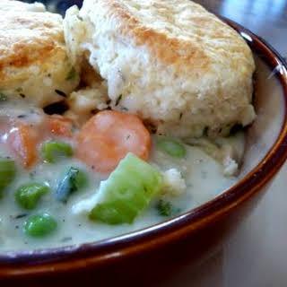 Chicken Pot Pie with Buttermilk Biscuit Crust.