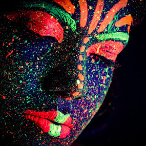 I am the Universe by Bihong Kollogov - People Portraits of Women ( face, colourful, bodypainting, paint, vibrant, space, glow, universe, conceptual, darkness, colours,  )