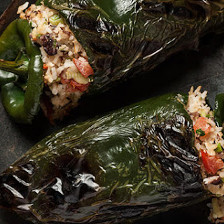 Stuffed Poblanos with Black Beans and Cheese