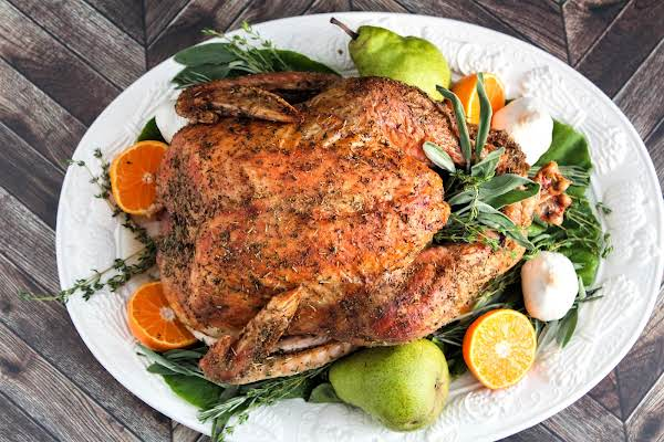 Grilled Turkey On A Serving Platter.