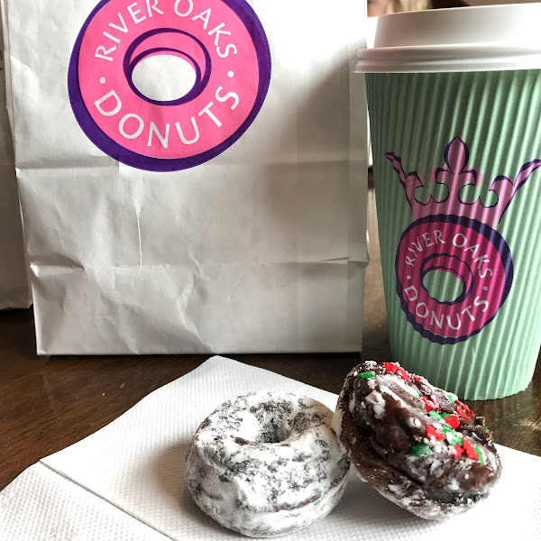 """They offer GF chocolate donut holes every day! ALL are Chocolate cake, with different """"coatings"""" (powered sugar, icing, etc.)."""