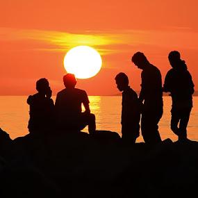 FULL SUNSET II by Adhy Winata - Landscapes Sunsets & Sunrises