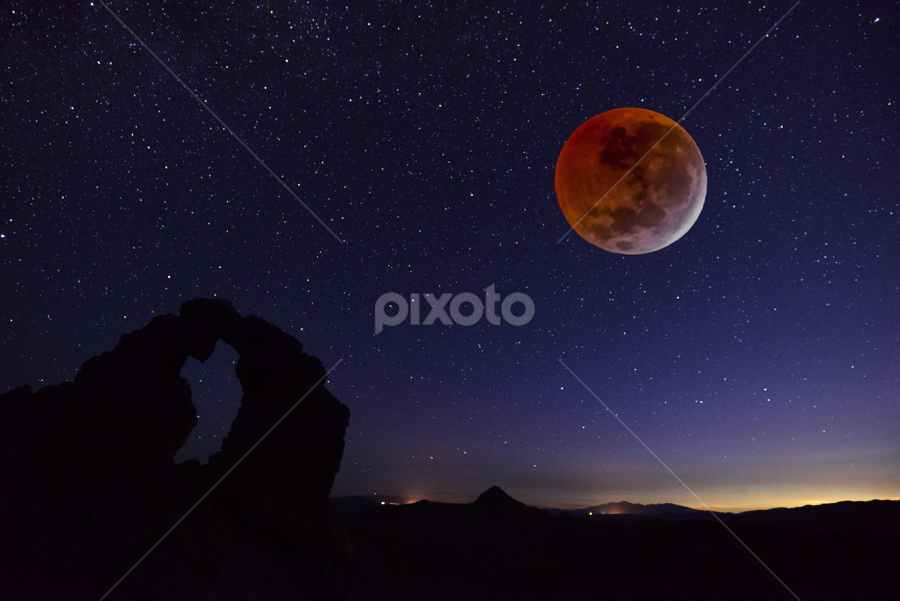 Dawning Blood Moon by Tom Becker - Digital Art Places ( blood moon, planet, moon, red, dawn, arch, stars, night, worlds )