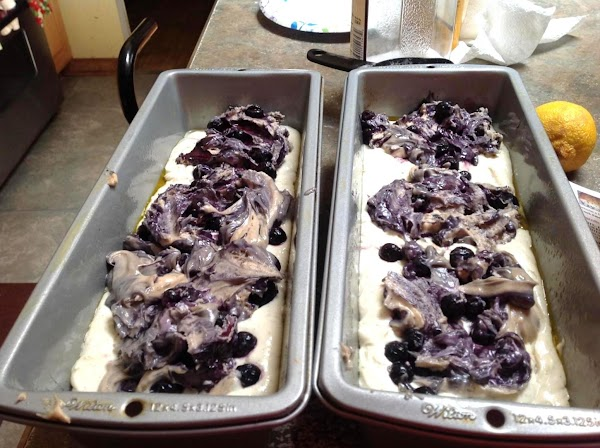 Now add the remaining Blueberry batter on top of each loaf pan.