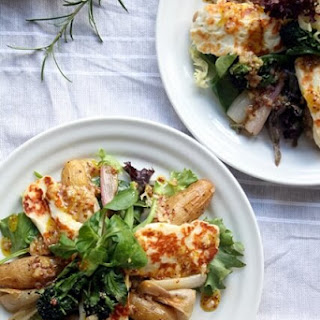 Roasted Shallot and Potato Salad with Halloumi