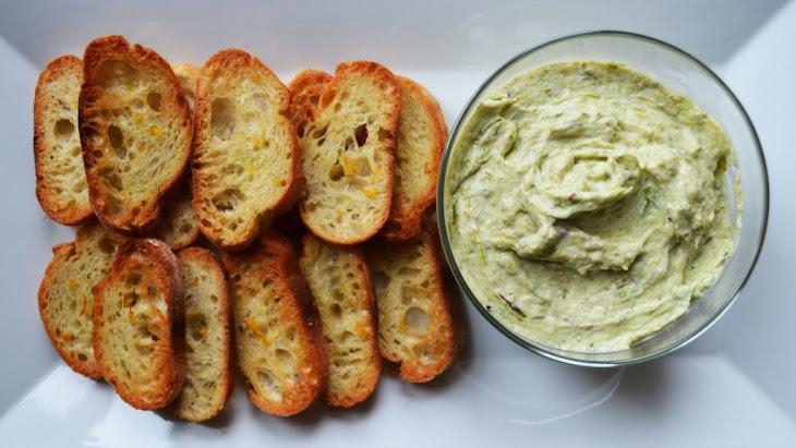 Roasted Asparagus & Garlic Ricotta Spread on Broiled Lemon Baguettes Recipe
