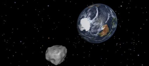 This NASA graphic obtained February 8, 2013 depicts the Earth flyby of asteroid 2012DA14.