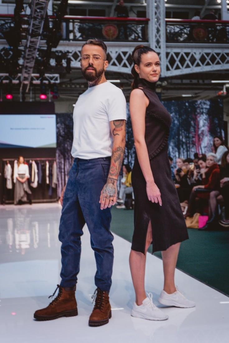 SEO Alt Text: Models Dan Pontarlier and Amanda Sarco Styled By Roberta Lee, Pure London Runway Feb 2020 | Conscious Fashion Brands | Menswear