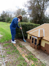 Photo: Virginia Freitag cleaning the station grounds before trhe wood siding rots more.     HALS Chili Fest Meet 2014-0301 RPW