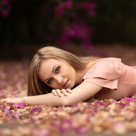 Jennifer Lee by Leanne Vorster - People Portraits of Women ( makeup, outdoors, natural light, blonde, model, pink dress )