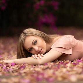 Jennifer Lee by Leanne Vorster - People Portraits of Women ( makeup, outdoors, natural light, blonde, model, pink dress )