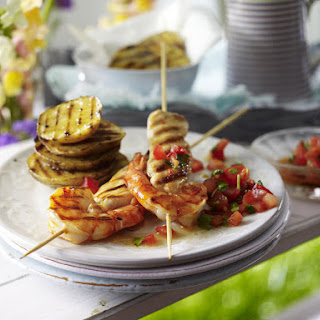 Surf and Turf Skewers with Potatoes and Spicy Salsa