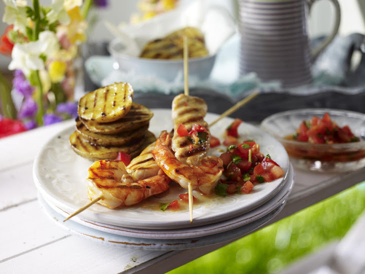 Surf and Turf Skewers with Potatoes and Spicy Salsa Recipe