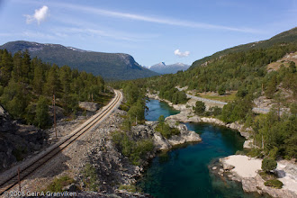 Photo: The railway Raumabanen, the river Rauma and the highway E136 - side by side near Bjorli in Romsdalen valley