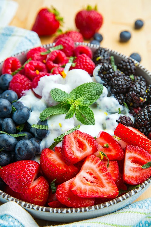 Berry Salad with Honey and Lemon Yogurt Dressing