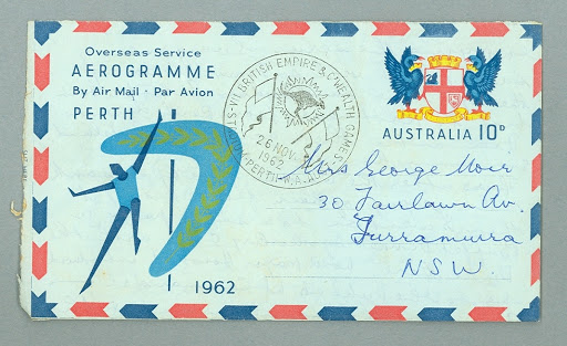 Aerogramme sent by George Moir from 1962 Commonwealth Games