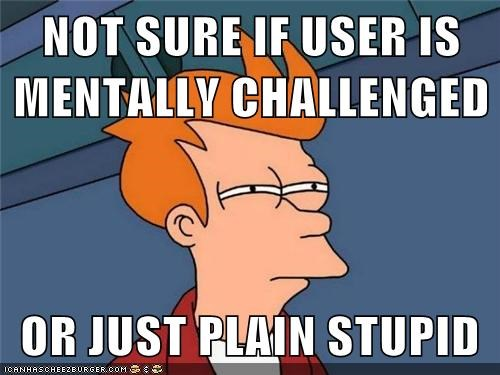 Fry, from Futurama, squeezing his eyes while asking himself whether users are mentally challenged or just plain stupid