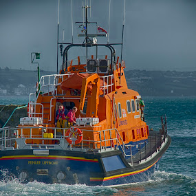 Penlee Lifeboat by Sarah Tregear - Transportation Boats ( orange, harbour, lifeboat, sea, boat, newlyn, cornwall, penlee,  )