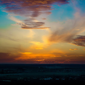 sunset by Raluca Bălan - Landscapes Sunsets & Sunrises ( clouds, orange, colors, sunset, yellow, sun,  )
