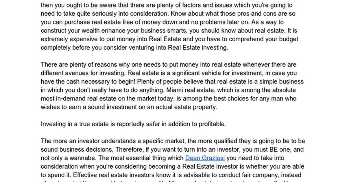 Real estate investing training