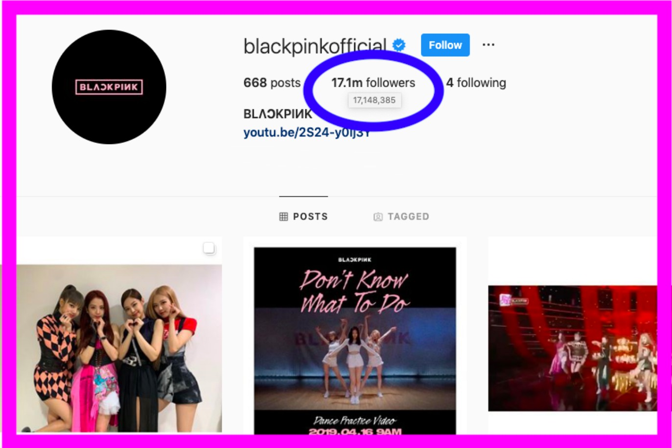 blackpink instagram count